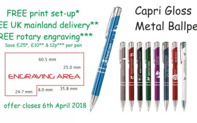 Ballpens offer from BusinessGiftUK – FREE print set-up FREE UK mainland delivery FREE rotary engraving